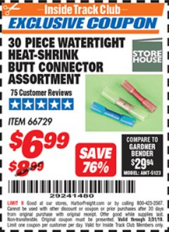 Harbor Freight ITC Coupon 30 PIECE WATERTIGHT HEAT-SHRINK BUTT CONNECTOR ASSORTMENT Lot No. 66729 Expired: 3/31/19 - $6.99