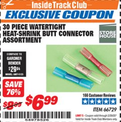 Harbor Freight ITC Coupon 30 PIECE WATERTIGHT HEAT-SHRINK BUTT CONNECTOR ASSORTMENT Lot No. 66729 Expired: 2/29/20 - $6.99