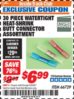 Harbor Freight ITC Coupon 30 PIECE WATERTIGHT HEAT-SHRINK BUTT CONNECTOR ASSORTMENT Lot No. 66729 Expired: 4/30/20 - $6.99
