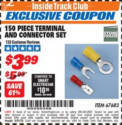 Harbor Freight ITC Coupon 150 PIECE TERMINAL AND CONNECTOR SET Lot No. 67683 Expired: 12/31/18 - $3.99