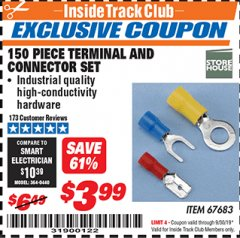 Harbor Freight ITC Coupon 150 PIECE TERMINAL AND CONNECTOR SET Lot No. 67683 Expired: 9/30/19 - $3.99