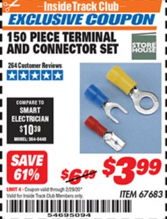 Harbor Freight ITC Coupon 150 PIECE TERMINAL AND CONNECTOR SET Lot No. 67683 Valid: 2/1/20 - 2/29/20 - $3.99