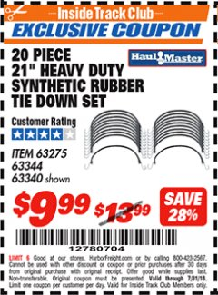 "Harbor Freight ITC Coupon 20 PIECE, 21"" HEAVY DUTY SYNTHETIC RUBBER TIE DOWN SET Lot No. 63340/60585/63275/63344 Expired: 7/31/18 - $9.99"