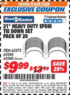 "Harbor Freight ITC Coupon 20 PIECE, 21"" HEAVY DUTY SYNTHETIC RUBBER TIE DOWN SET Lot No. 63340/60585/63275/63344 Expired: 12/31/18 - $9.99"