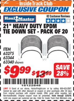 "Harbor Freight ITC Coupon 20 PIECE, 21"" HEAVY DUTY SYNTHETIC RUBBER TIE DOWN SET Lot No. 63340/60585/63275/63344 Expired: 2/28/19 - $9.99"