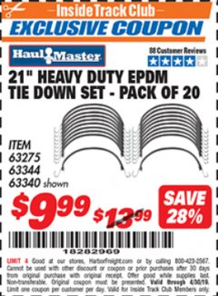 "Harbor Freight ITC Coupon 20 PIECE, 21"" HEAVY DUTY SYNTHETIC RUBBER TIE DOWN SET Lot No. 63340/60585/63275/63344 Expired: 4/30/19 - $9.99"