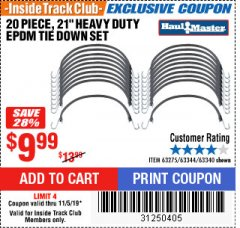 "Harbor Freight ITC Coupon 20 PIECE, 21"" HEAVY DUTY SYNTHETIC RUBBER TIE DOWN SET Lot No. 63340/60585/63275/63344 Expired: 11/5/19 - $9.99"