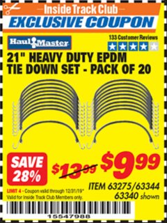 "Harbor Freight ITC Coupon 20 PIECE, 21"" HEAVY DUTY SYNTHETIC RUBBER TIE DOWN SET Lot No. 63340/60585/63275/63344 Expired: 12/31/19 - $9.99"