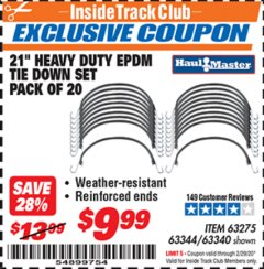 "Harbor Freight ITC Coupon 20 PIECE, 21"" HEAVY DUTY SYNTHETIC RUBBER TIE DOWN SET Lot No. 63340/60585/63275/63344 Valid: 2/1/20 - 2/29/20 - $9.99"