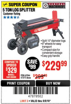 Harbor Freight Coupon 5 TON LOG SPLITTER Lot No. 63366/61373 Expired: 9/9/18 - $229.99