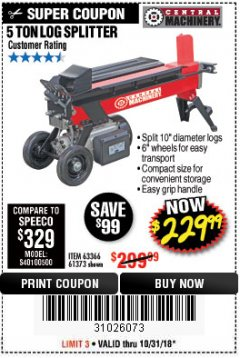 Harbor Freight Coupon 5 TON LOG SPLITTER Lot No. 63366/61373 Expired: 10/31/18 - $229.99