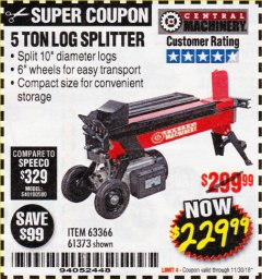 Harbor Freight Coupon 5 TON LOG SPLITTER Lot No. 63366/61373 Expired: 11/30/18 - $229.99