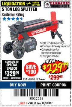 Harbor Freight Coupon 5 TON LOG SPLITTER Lot No. 63366/61373 Expired: 10/31/19 - $229.99