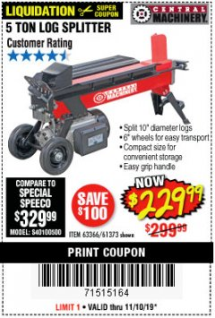 Harbor Freight Coupon 5 TON LOG SPLITTER Lot No. 63366/61373 Expired: 11/10/19 - $229.99