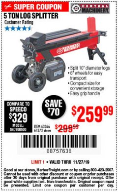 Harbor Freight Coupon 5 TON LOG SPLITTER Lot No. 63366/61373 Expired: 11/27/19 - $259.99