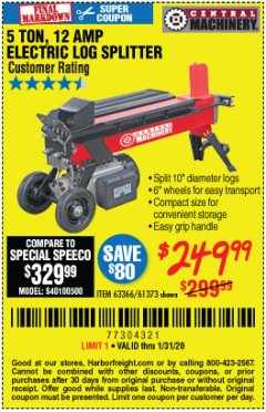 Harbor Freight Coupon 5 TON LOG SPLITTER Lot No. 63366/61373 Expired: 1/31/20 - $249.99