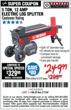 Harbor Freight Coupon 5 TON LOG SPLITTER Lot No. 63366/61373 Expired: 2/7/20 - $249.99