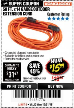 Harbor Freight Coupon 50FT.X14GAUGE OUTDOOR EXTENSION CORD Lot No. 41447/62924/62925 Expired: 10/31/18 - $15.99