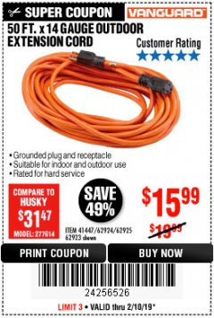 Harbor Freight Coupon 50FT.X14GAUGE OUTDOOR EXTENSION CORD Lot No. 41447/62924/62925 Expired: 2/10/19 - $15.99