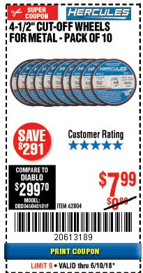 "Harbor Freight Coupon HERCULES 4-1/2"" CUT-OFF WHEELS FOR METAL - PACK OF 10 Lot No. 62804 Expired: 6/10/18 - $7.99"