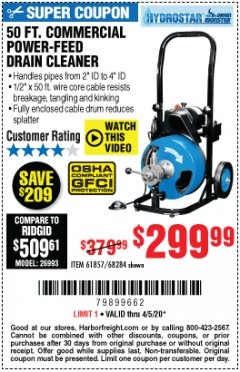 Harbor Freight Coupon 50 FT. COMMERCIAL POWER-FEED DRAIN CLEANER Lot No. 68284/61857 EXPIRES: 6/30/20 - $299.99
