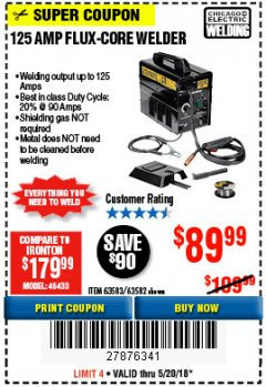 Harbor Freight Coupon 125 AMP FLUX-CORE WELDER Lot No. 63583/63582 Expired: 5/20/18 - $89.99