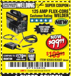 Harbor Freight Coupon 125 AMP FLUX-CORE WELDER Lot No. 63583/63582 Expired: 8/20/18 - $99.99