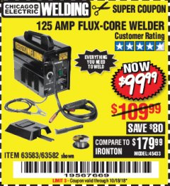Harbor Freight Coupon 125 AMP FLUX-CORE WELDER Lot No. 63583/63582 Expired: 10/18/18 - $99.99