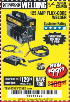 Harbor Freight Coupon 125 AMP FLUX-CORE WELDER Lot No. 63583/63582 Expired: 10/1/18 - $99.99