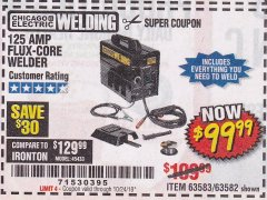 Harbor Freight Coupon 125 AMP FLUX-CORE WELDER Lot No. 63583/63582 Expired: 10/24/18 - $99.99