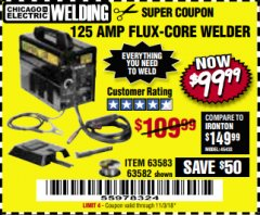 Harbor Freight Coupon 125 AMP FLUX-CORE WELDER Lot No. 63583/63582 Expired: 11/3/18 - $99.99