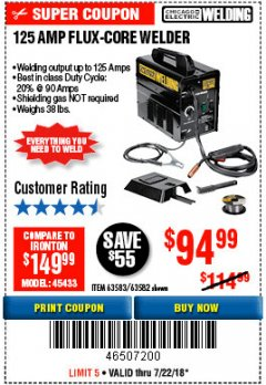 Harbor Freight Coupon 125 AMP FLUX-CORE WELDER Lot No. 63583/63582 Expired: 7/22/18 - $94.99