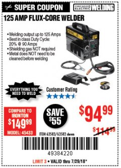 Harbor Freight Coupon 125 AMP FLUX-CORE WELDER Lot No. 63583/63582 Expired: 7/29/18 - $94.99