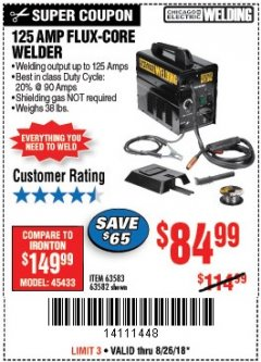 Harbor Freight Coupon 125 AMP FLUX-CORE WELDER Lot No. 63583/63582 Expired: 8/26/18 - $84.99