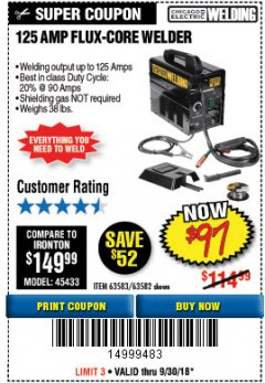 Harbor Freight Coupon 125 AMP FLUX-CORE WELDER Lot No. 63583/63582 Expired: 9/30/18 - $97