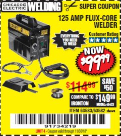 Harbor Freight Coupon 125 AMP FLUX-CORE WELDER Lot No. 63583/63582 Expired: 11/30/18 - $99.99