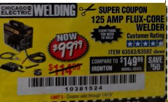 Harbor Freight Coupon 125 AMP FLUX-CORE WELDER Lot No. 63583/63582 Expired: 1/4/19 - $99.99