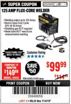 Harbor Freight Coupon 125 AMP FLUX-CORE WELDER Lot No. 63583/63582 Expired: 11/4/18 - $99.99