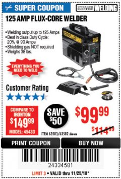 Harbor Freight Coupon 125 AMP FLUX-CORE WELDER Lot No. 63583/63582 Expired: 11/25/18 - $99.99