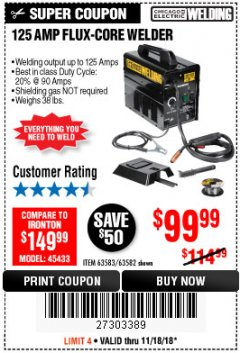 Harbor Freight Coupon 125 AMP FLUX-CORE WELDER Lot No. 63583/63582 Expired: 11/18/18 - $99.99