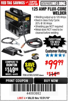 Harbor Freight Coupon 125 AMP FLUX-CORE WELDER Lot No. 63583/63582 Expired: 12/31/18 - $99.99