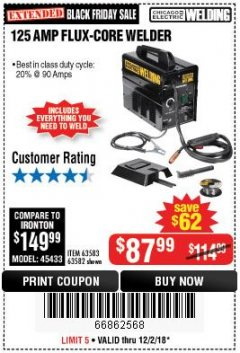 Harbor Freight Coupon 125 AMP FLUX-CORE WELDER Lot No. 63583/63582 Expired: 12/2/18 - $87.99