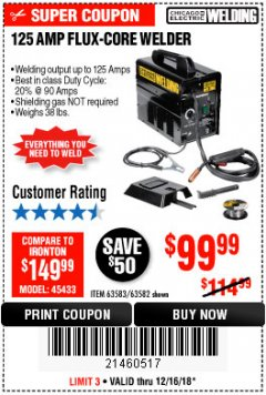 Harbor Freight Coupon 125 AMP FLUX-CORE WELDER Lot No. 63583/63582 Expired: 12/16/18 - $99.99