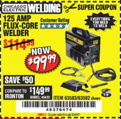 Harbor Freight Coupon 125 AMP FLUX-CORE WELDER Lot No. 63583/63582 Expired: 5/4/19 - $99.99