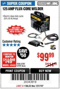 Harbor Freight Coupon 125 AMP FLUX-CORE WELDER Lot No. 63583/63582 Expired: 1/27/19 - $99.99