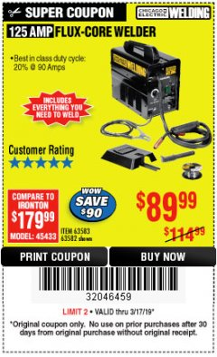 Harbor Freight Coupon 125 AMP FLUX-CORE WELDER Lot No. 63583/63582 Expired: 3/17/19 - $89.99