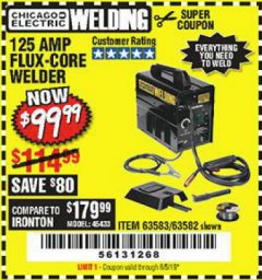 Harbor Freight Coupon 125 AMP FLUX-CORE WELDER Lot No. 63583/63582 Expired: 8/5/19 - $99.99