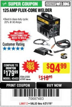Harbor Freight Coupon 125 AMP FLUX-CORE WELDER Lot No. 63583/63582 Expired: 4/21/19 - $94.99