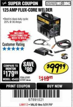Harbor Freight Coupon 125 AMP FLUX-CORE WELDER Lot No. 63583/63582 Expired: 5/31/19 - $99.99