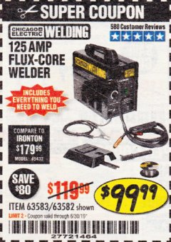 Harbor Freight Coupon 125 AMP FLUX-CORE WELDER Lot No. 63583/63582 Expired: 6/30/19 - $99.99